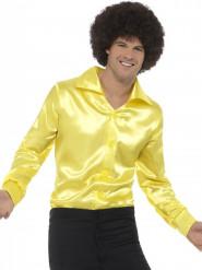 Chemise satinée jaune fluo homme