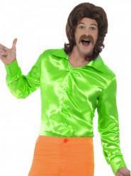 Chemise satinée verte homme