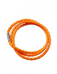 Bracelet tressé orange fluo adulte