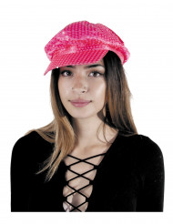 Casquette disco à sequins rose fluo adulte