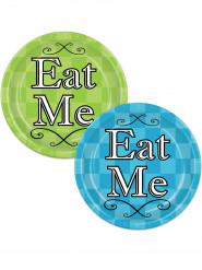8 Assiettes assorties vert citron et turquoise Alice au pays imaginaire !