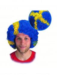 Perruque supporter drapeau Suède adulte