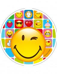 Disque en sucre Smiley™ 21 cm aléatoire