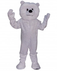 Mascotte ours blanc maxi tête luxe adulte