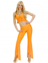 Déguisement disco sexy fluo orange femme