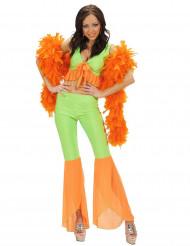 Déguisement disco sexy fluo vert et orange femme