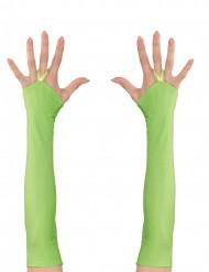 Mitaines longues vertes fluo femme