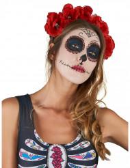 Serre tête fleurs rouge Dia De Los Muertos adulte