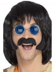 Kit hippie noir avec moustache et pattes homme
