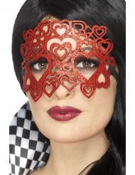 Masque à paillettes coeurs rouges adulte