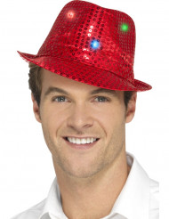 Chapeau borsalino rouge à sequins avec LED adulte