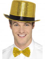 Chapeau haut de forme à sequins doré avec ruban noir adulte