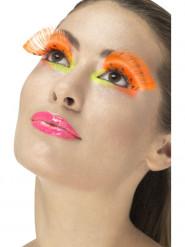Faux cils longs à pois orange fluo adulte