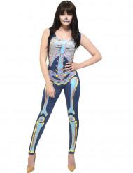Déguisement combinaison squelette colorée femme Halloween
