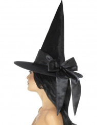 Chapeau noir avec noeud noir femme Halloween