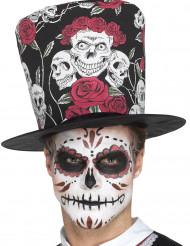 Chapeau haut de forme crânes adulte Dia de los muertos