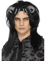 Perruque noire créature démoniaque adulte Halloween