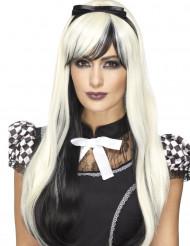 Perruque longue noire et blanche avec bandeau résistante à la chaleur femme