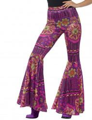 Pantalon hippie rosaces roses femme