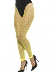 Collants résille grande maille sans pieds jaune fluo femme