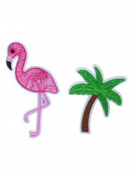 2 Broches flamant rose et palmier