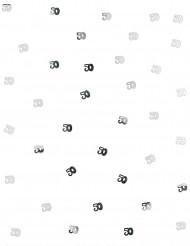 Confettis de table 50 ans argent