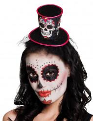 Mini chapeau haut de forme femme Dia de los muertos