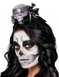 Mini chapeau tête de mort brillante femme Halloween