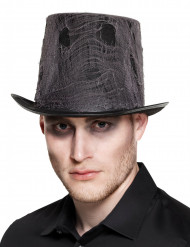 Chapeau haut de forme noir avec toile adulte Halloween