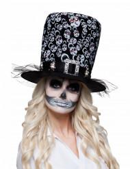 Chapeau haut de forme squelette adulte Halloween