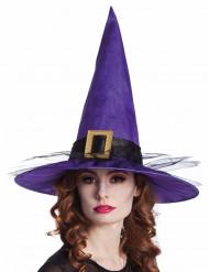 Chapeau sorcière velours violet avec boucles adulte Halloween