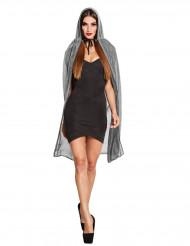 Cape argent brillante avec capuche 140 cm femme Halloween