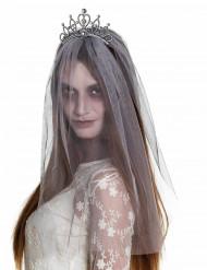 Diadème avec voile mariée zombie femme Halloween
