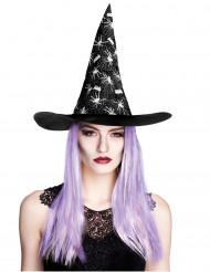 Chapeau sorcière araignée avec cheveux femme Halloween