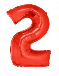 Ballon aluminium géant chiffre 2 rouge 102 cm