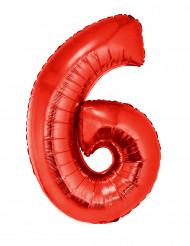 Ballon aluminium géant chiffre 6 rouge 102 cm