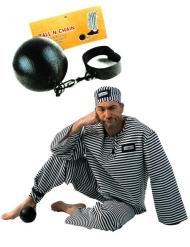 Boulet de prisonnier noir adulte