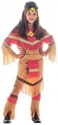 Déguisement indienne marron et rouge fille