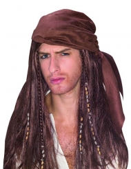 Perruque pirate avec bandana homme marron