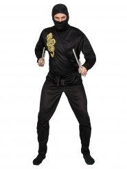 Déguisement ninja noir et doré adulte