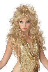 Longue perruque femme blonde 80's