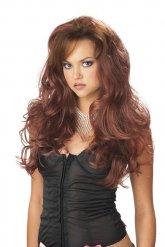 Perruque longue ondulée marron femme