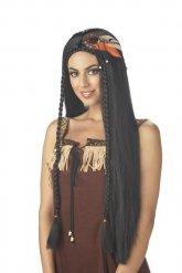 Perruque indienne cheveux longs femme noir