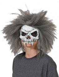 Masque crâne de squelette avec cheveux gris-blanc