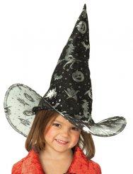 Chapeau de sorcière noir avec imprimés enfant Halloween