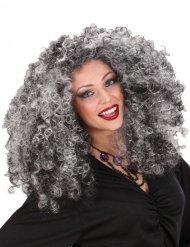 Perruque de sorcière noire et grise