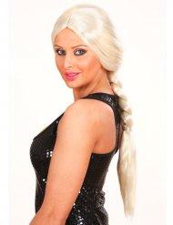 Perruque longue tressée blonde adulte