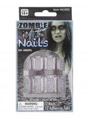 Faux Ongles zombie craquelé adulte Halloween