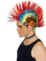 Perruque punk multicolore adulte
