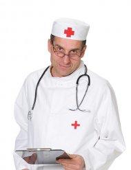 Coiffe de docteur rouge et blanc
